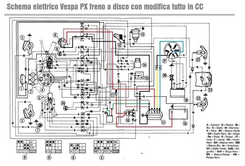 Schema Elettrico Regolatore Di Tensione Ape 50 : Modifica impianto elettrico su px freno a disco in cc