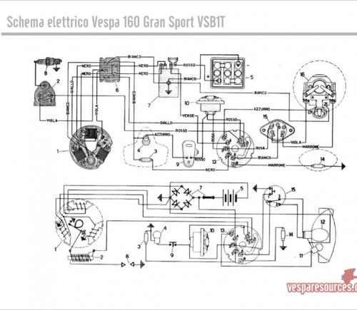 Schema Elettrico Zbx74 78 : Schema elettrico vespa gs impianti elettrici