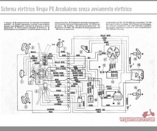 Schema Elettrico Vespa Px 125 : Schema elettrico vespa px arcobaleno no elestart
