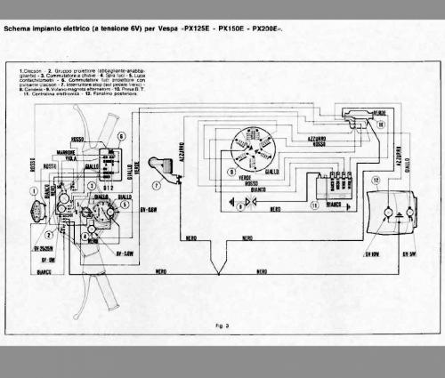 Schema Elettrico Vespa Px 125 : Schema elettrico vespa px  e no frecce impianti