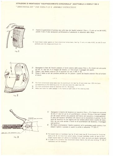 Istruzioni di montaggio kit frecce SGR per Vespa PX